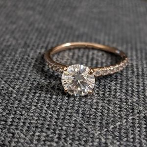 Rose gold solitaire moissanite ring